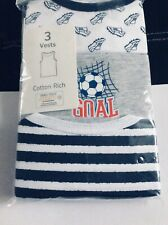 Brand new boys pack of 3 football theme cotton vests, age 4-5 years