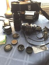 Minolta SR-T 101 35mm SLR Film Camera with multiple lens plus