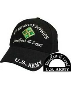 4th Infantry Division Ball Caps for Vets. 100% Cotton and Embroidered