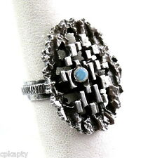 SUPERB Vintage 1970s GERMANY Sterling Silver & Opal Modernist Brutalist RING