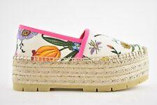 Gucci Pilar Platform Floral White Canvas Slide Mule Slipper Espadrille Flat 35