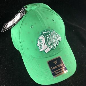 Chicago Blackhawks Fanatics Branded Green Shamrock Speed Flex Hat Green  New