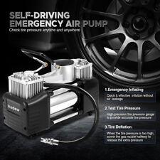 12V Portable 150PSI Car Tire Inflator Pump Auto Air Compressor Dual Cylinder US