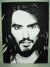 Canvas Painting Russell Brand Portrait B&W Art 16x12 inch Acrylic