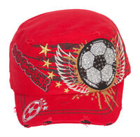 TopHeadwear Winged Soccer Ball Distressed Cadet Cap