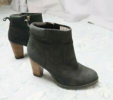 Timberland ladies black waterproof leather anti fatigue block heel ankle boots 6