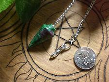 Pendulum Ruby in Fuchsite Goddess Psychic Awareness Heart