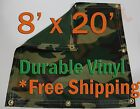 8' x 20' Heavy Duty 18 oz Vinyl Camo Camouflage Tarp Ground Cover Blind