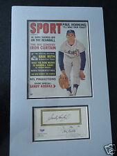 Sandy Koufax Matted Signed Auto Cut w/ 1963 Baseball Magazine PSA/DNA COA
