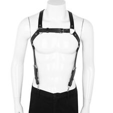Sexy Mens Adjustable Leather X Back Body Chest Harness Suspenders Belt Costume