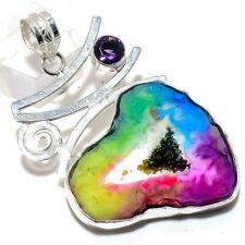 """Rainbow Solar Quartz Druzy, Amethyst Silver Fashion Jewelry Pendant 2.4"""" SP8555"""