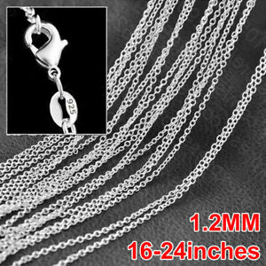 """10pcs Wholesale 16-24"""" Cross Chain Necklace Jewelery 925 Sterling Silver Plated"""
