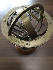 "M & S BRASS ANTIQUE FINISH ARMILLARY ZODIAC SPHERE GLOBE - HOME DECOR 8.5""  VGC"