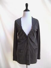 J.Crew Size S Austin Slouchy Cardigan 100% Cotton Dark Grey Gathered Detail