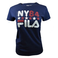 FILA Womens T Shirt Athletic Logo Active Sport Apparel NY Strike 84 BLUE RED NEW