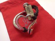 """NWT Uno de 50 Silvertone/Leather Bracelet """"Weave"""" $145   7"""""""