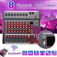 8 Channel 48V Phantom bluetooth Mic Live Mixing Studio Audio Sound Mixer Console