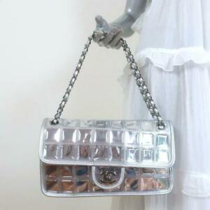 Chanel Ice Cube Flap Bag Quilted Silver Metallic Leather & Vinyl Shoulder Bag