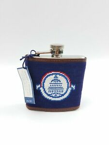 Smathers and Branson Needlepoint Flask Stainless Steel Navy Blue/Leather NEW