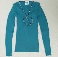 Vintage ladies top UNUSED stretchy knit ribbed pullover 1960s 1970s teenage TEAL