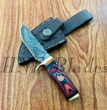 HNF CUSTOM HANDMADE DAMASCUS STEEL DAILY USE HUNTING SKINNER KNIFE - BW 143