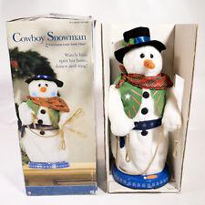 2004 Gemmy Animated Cowboy Snowman See Video Sings Gonna Lasso Santa Claus w Box