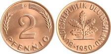 Deutschland 2 Pfennig 1950 G seltene Erhaltung: Prachtexemplar, Stempelglanz