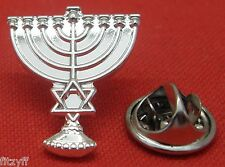 Menorah Lapel Pin Badge Hanukkah candelabrum & Star of David Brooch
