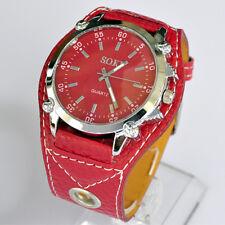 SOKI Brand Red Color Analog Quartz For Womens Girls Wrist PU leather Band Watch