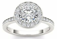 1.40 Ct Round Cut Classic Halo Engagement Ring In 14 k Solid White Gold
