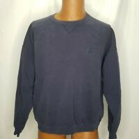 Vintage 90s Starter Sweatshirt Blue Size Large Faded Embroidered Logo Crew Neck