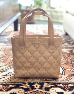 Chanel Lambskin Leather Quilted Wild Stitch Small Tote Handbag in Beige