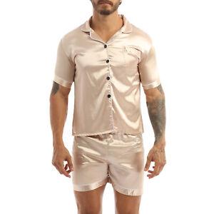 Mens Silk Satin Pajama Long Sleeve Button Sleepwear Pullover Homewear Nightshirt
