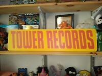 """Tower Records Sign, 6"""" x 24"""" Aluminum retail display, Record Shop!"""