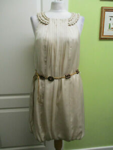 BNWT BY ET VOUS SIZE 10 LADIES SPECIAL OCCASION SATIN DRESS - MUSHROOM