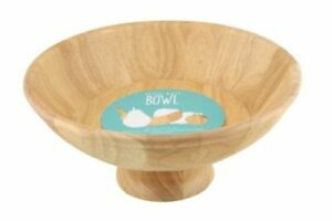 Rubberwood Footed Large Fruit Bowl Natural Wood Salad Bowl Classic Hevea Wood