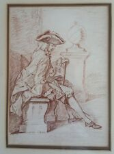 "Vintage master sepia drawing of engraver Gravelot by Naomi Coffman 17x21"" framed"