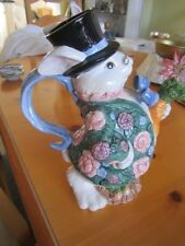 FITZ and FLOYD BLOOMERS AND BLUE RIBBON BUNNY RABBIT PITCHER  1991