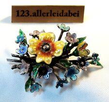 EMAUX FLEURS Broche 925 il Argent Fleur Floraison EMAILE enamel/BD 238