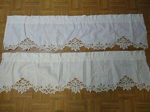 """Vintage Battenburg Lace Cafe Curtains Set Of 2 60"""" X 14"""" Ecru #1"""