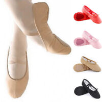 US Womens Adults Canvas Split Sole Ballet Dance Shoes Leather Slippers 8/Size