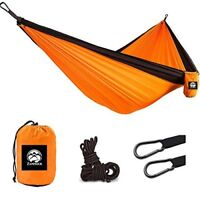 ▶▶▶ Camping Hanging Double Person Travel Hammock With Steel Carabiners (Orange)