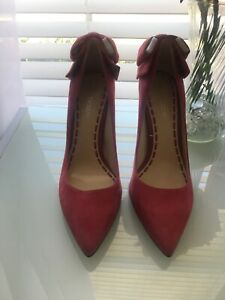 ENZO ANGIOLINI Wmn sz 8.5M MARTINI Pinkish Suede Leather Bow Back Heels Shoes