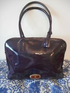 Mulberry Net A Porter Purple Patent Leather Unisex Large Briefcase Laptop Bag