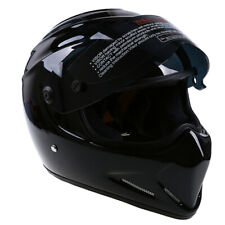 Black Lens Gloss Fiberglass Helmet Flip up Off Road Motorcycle Streetbike Fit