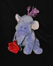 Peluche doudou éléphant mauve Lumpy DISNEY NICOTOY rose rouge 25 cm assis TTBE