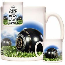 LAWN BOWLS MUG. KEEP CALM AND PLAY LAWN BOWLS, Lovely ceramic gift mug for bowls