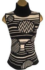 Stunning Missoni Black & White Sleeveless Polo Neck Wool Jumper  UK 10 32 Bust