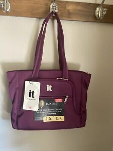 It Luggage Carry On Tote Bag Purple Zipper Top Luggage Worlds Lightest