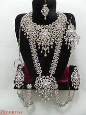 NUOVO Nuziale Indiano Bollywood Bigiotteria Set Gold Tone GRANDE DESIGN Wear